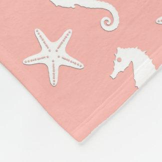 タツノオトシゴ及びヒトデ-軽い珊瑚のピンク フリースブランケット
