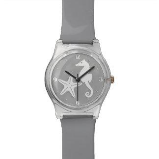 タツノオトシゴ及びヒトデ-銀製灰色の白 腕時計