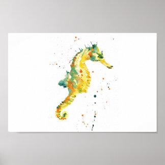 タツノオトシゴ、タツノオトシゴのプリント、黄色いタツノオトシゴ、bathroo ポスター