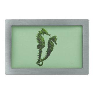 タツノオトシゴ(緑)のダンス 長方形ベルトバックル