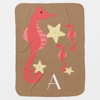 タツノオトシゴ/Personalize (赤およびブラウン) ベビー ブランケット