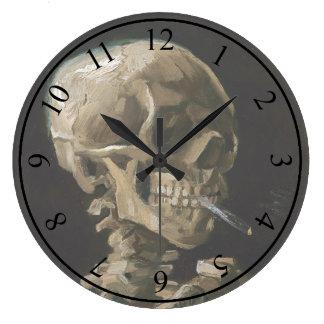 タバコのフィンセント・ファン・ゴッホの非常に熱い芸術のスカル ラージ壁時計