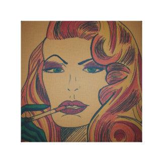 タバコの凝視の女性 キャンバスプリント