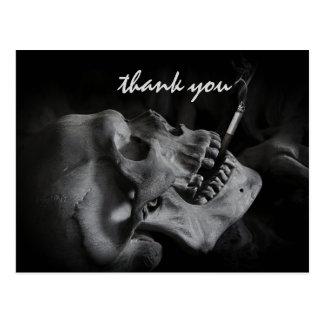タバコを吸うスカルは感謝していしています ポストカード