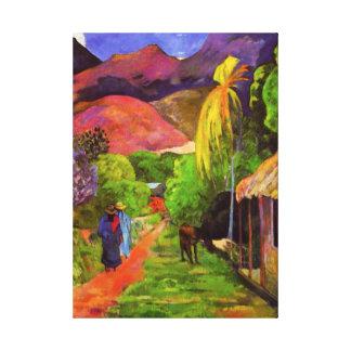 タヒチのキャンバスの覆いのGauguinの道 キャンバスプリント