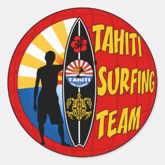 タヒチのサーフィンのステッカー ラウンドシール
