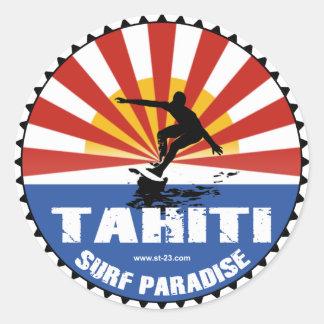 タヒチのサーフィンの楽園のステッカー 丸形シールステッカー