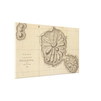 タヒチ(1773年)のヴィンテージの地図 キャンバスプリント