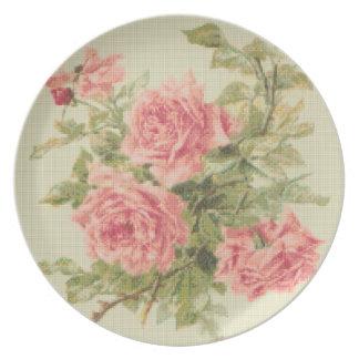 タペストリーのスタイルのピンクのバラ プレート