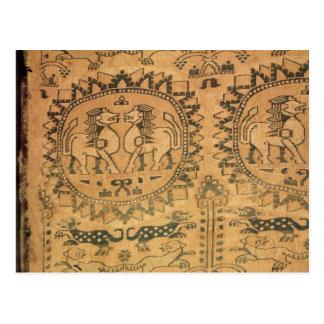 タペストリー、西部のアジア人、第7第8世紀 ポストカード