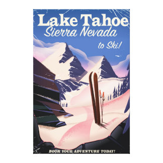 タホ湖シエラネバダ山脈のヴィンテージのスキーポスター キャンバスプリント