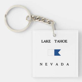 タホ湖ネバダのアルファ飛び込みの旗 キーホルダー