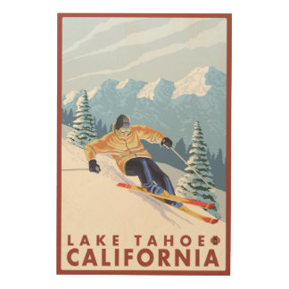 タホ湖、カリフォルニア- Downhhillの雪のスキーヤー ウッドウォールアート