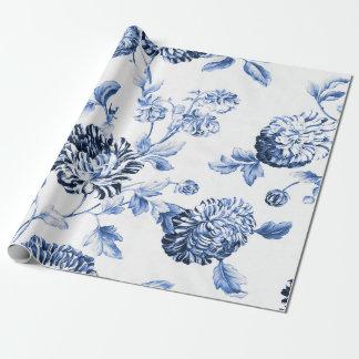 タマキビの青いヴィンテージ植物の花のToile ラッピングペーパー