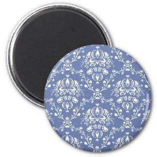 タマキビの青および白いダマスク織 マグネット
