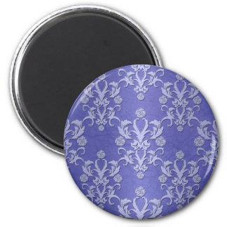タマキビの青の空想の花のダマスク織パターン マグネット