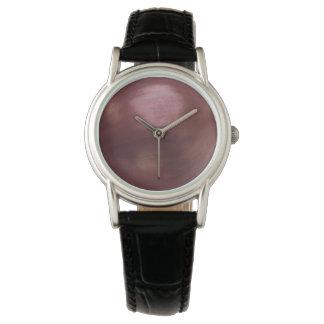 タマネギのクラシックで黒い革 腕時計