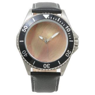 タマネギのステンレス鋼の黒の革 腕時計