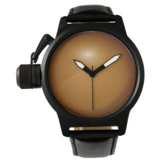 タマネギの王冠の保護装置の黒の革 腕時計