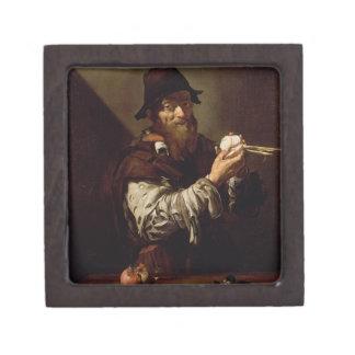 タマネギ(canvaを持つ老人のポートレートの油 ギフトボックス