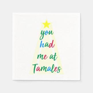 タマレのヒスパニックのクリスマスのナプキンで私がありました スタンダードカクテルナプキン