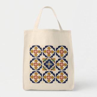 タラベラのタイルが付いている再使用可能な食料雑貨の買い物袋 トートバッグ