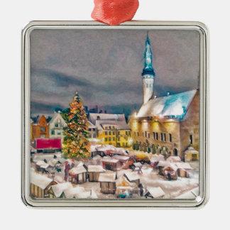 タリンエストニアのクリスマスの市場 シルバーカラー正方形オーナメント