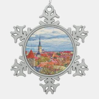 タリンエストニアのクリスマス スノーフレークピューターオーナメント