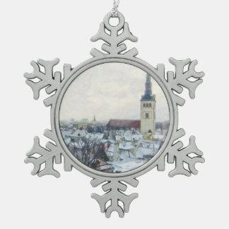 タリン-エストニア語のクリスマスの冬の雪 スノーフレークピューターオーナメント