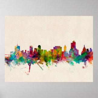 タルサオクラホマのスカイラインの都市景観 ポスター
