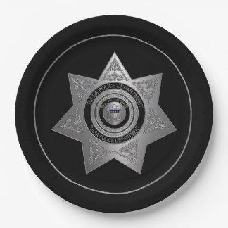 タルサ警察Deptバッジ選択4紙のプレート ペーパープレート
