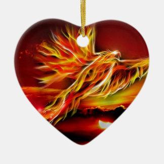 タロットのフェニックスの非常に熱く赤く飛んでいるな庭 陶器製ハート型オーナメント