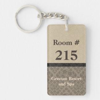 タンおよびブラウンのダマスク織のホテルのRooomのキーホルダー キーホルダー