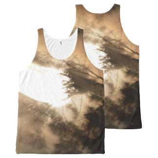タンおよび白色光のユニセックスなワイシャツ オールオーバープリントタンクトップ