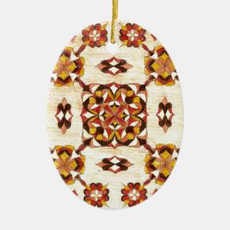 タンおよび茶色の東洋の敷物のデザイン! セラミックオーナメント