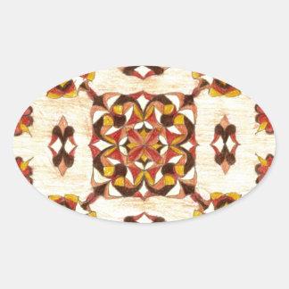 タンおよび茶色の東洋の敷物のデザイン! 楕円形シール