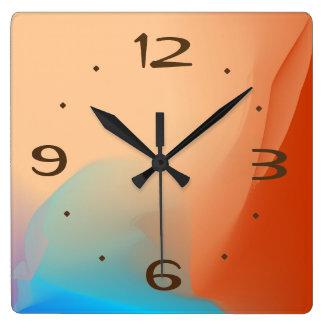 タンが付いているカラフルな水彩画NO >明白な時計 スクエア壁時計