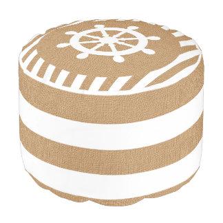タンのバーラップの航海のな舵輪は|のプリントを縞で飾ります プーフ
