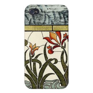 タンのボーダーが付いているステンドグラスの花 iPhone 4 CASE