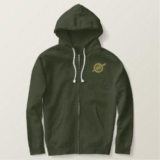 タンのロゴの軍隊の緑WEVOによって刺繍されるフード付きスウェットシャツ 刺繍入りパーカ