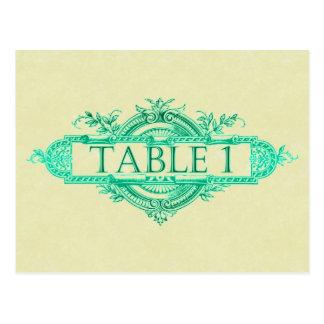 タンの水のヴィンテージの結婚披露宴のテーブル数 ポストカード