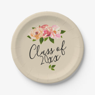 タンの素朴な花の卒業生のパーティーの紙皿 ペーパープレート