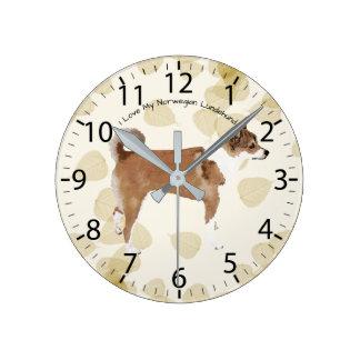 タンの葉のノルウェー語Lundehund ラウンド壁時計