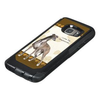 タンの葉及びブラウンPawprintsのグレイハウンド オッターボックスSamsung Galaxy S7ケース