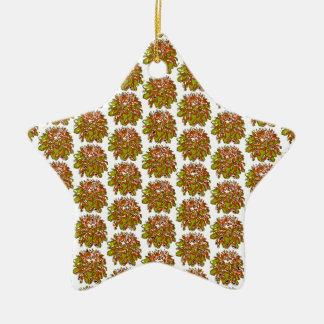 タンの金ゴールドの花のダリアの花模様 セラミックオーナメント