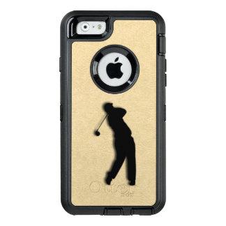 タンの革ゴルフ オッターボックスディフェンダーiPhoneケース