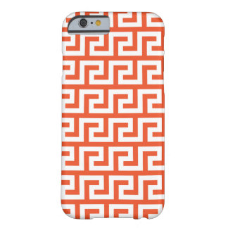 タンゴのオレンジiPhone 6つのケース-雷文パターン Barely There iPhone 6 ケース