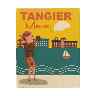 タンジールモロッコのヴィンテージ旅行ポスターへの歓迎 ウッドウォールアート