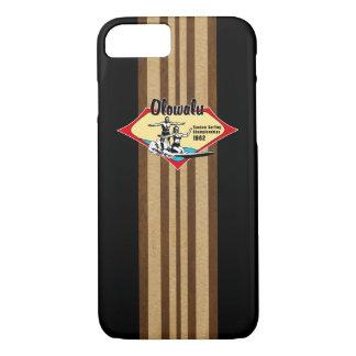 タンデムサーフィンのハワイの模造のな木製のサーフボード iPhone 8/7ケース