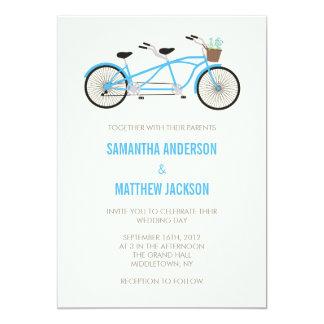 タンデムバイクの結婚式招待状-青 カード